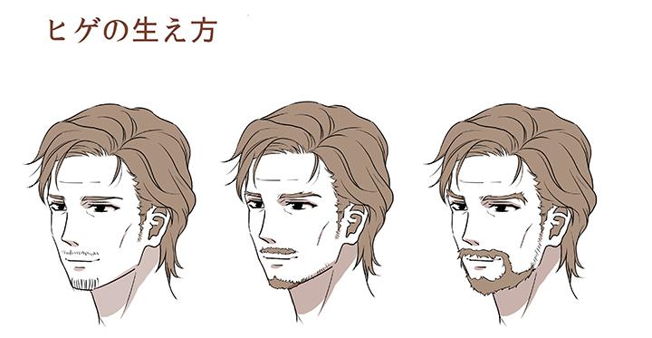 右のイラストのように、口ヒゲと顎ヒゲをつなげる描き方もあります。ヒゲが伸びて長くなっている場合は、眉毛の毛量を増やしたり、もみあげと顎ヒゲをつなげたりする