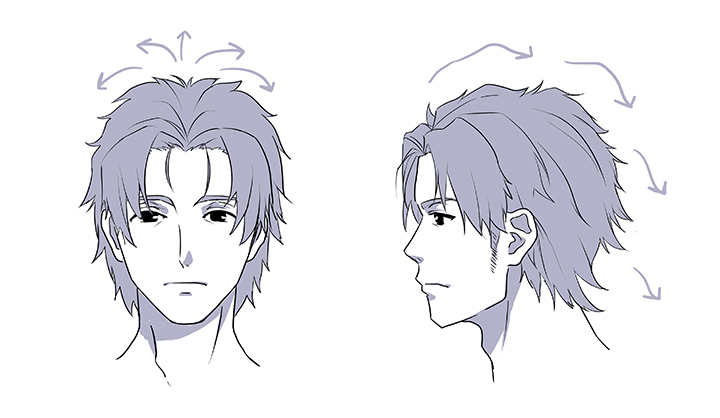 髪の毛を後ろへ流しているので、オールバックと似たような髪型になります。このように前髪を上げている髪型の場合は、前髪と後ろの髪の毛を別々の塊(かたまり)として