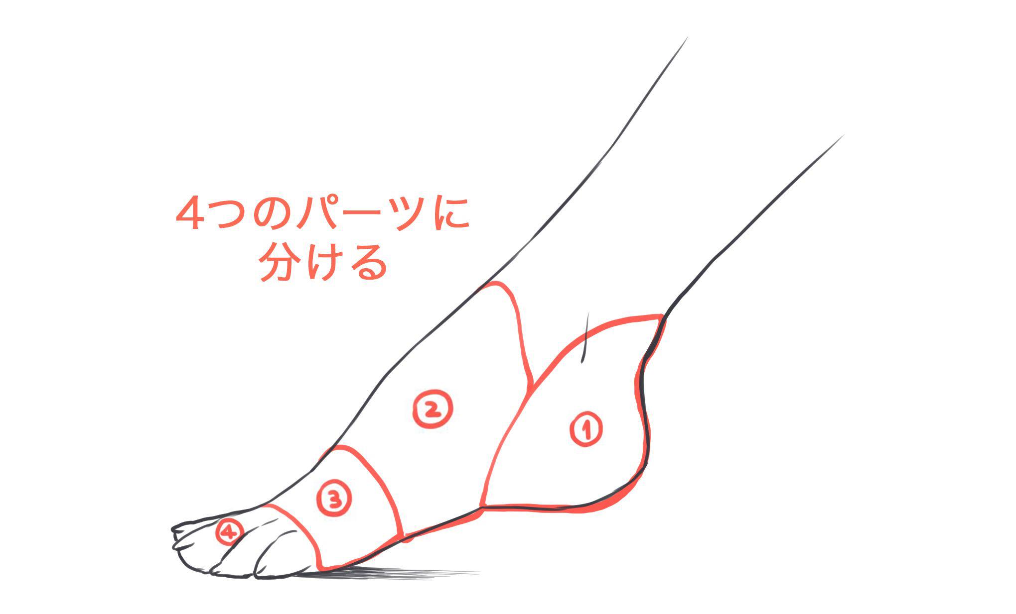 足のパーツ分け