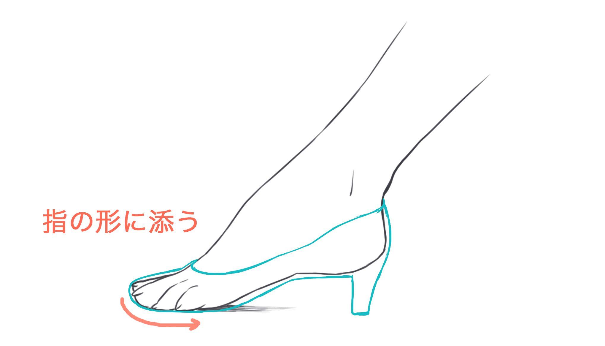 裸足を描いて靴を履かせる