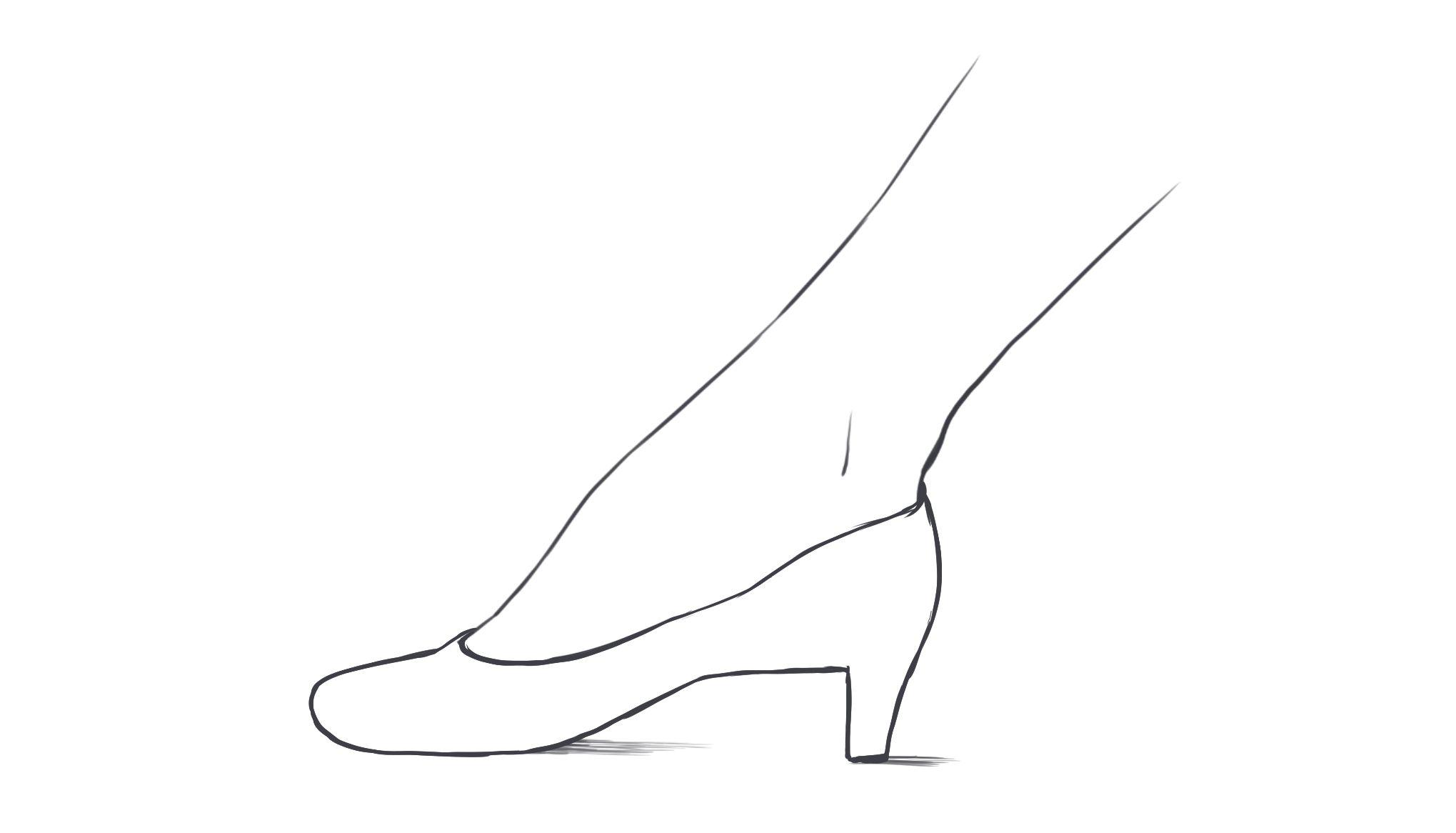 そのほか、地面についている場合だけでなく、このようにジャンプしている足にも、裸足から描いて靴を履かせることができます。 ジャンプしているので、靴底と裸足の間