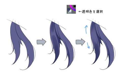 流れに沿った髪の塗り方