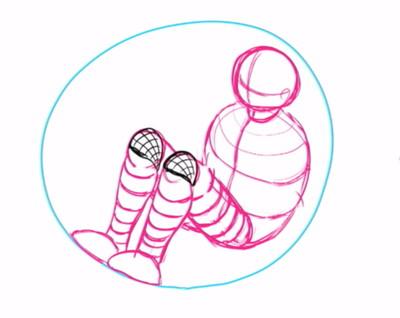 膝の補助線を入れる