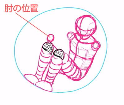 肘の位置を描く
