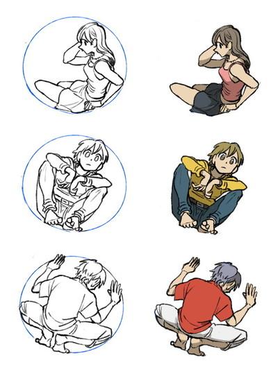 円で描くポーズの例