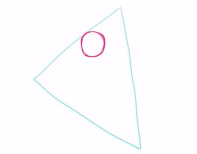 三角形に頭の位置を描く