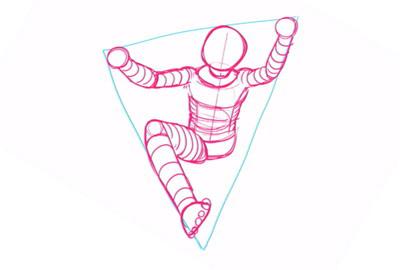 足の補助線を描く