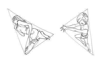 三角形で描くポーズの例