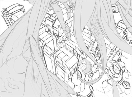 おおまかな形をとるだけなのでフリーハンドで描いていますが、勘だけで描くと間違うので所々でパース定規を利用し、構図をチェックしています。