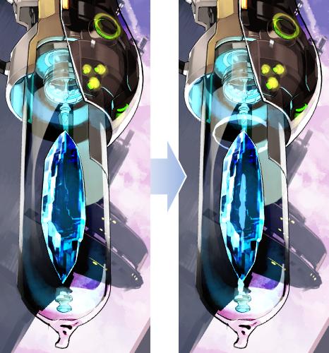 13光の効果 Shihouが描く女の子メカ宝石の3つの異なる質感