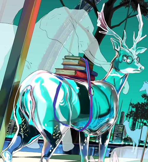 16背景の色塗 ガラス陰影反射 藤ちょこが鮮やかな色彩で描く