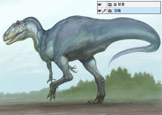 8恐竜の着色 緑川美帆が描くグラデ彩色機能を使った恐竜画