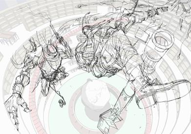 (2)今回は背景ラフだけでなく、キャラクターラフにもメタセコイアによる3Dを用います。下画像のような刀をモデリングしました。