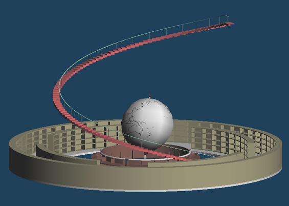(1)階段の段差部分を作成します。あたりとして「柵1」にロックをかけた状態で表示します。[基本図形]から円筒を作成します。[基本図形の作成]パネルの[U方向]の分割